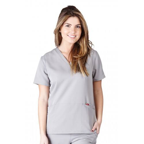 A photo of grey ultra soft fashion scrub top (front)