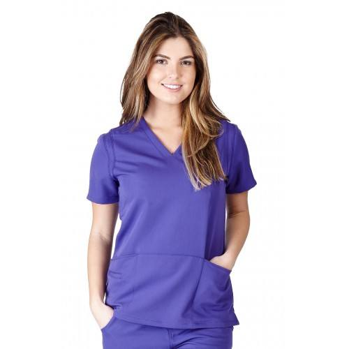 A photo of purple ultra soft fashion scrub top (front)