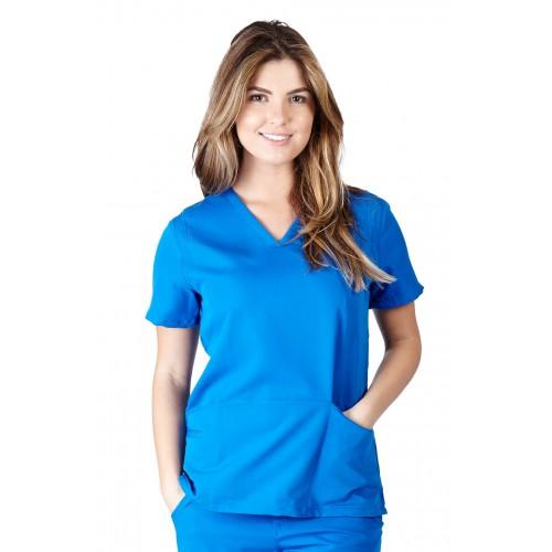 A photo of true royal blue ultra soft fashion scrub top (front)