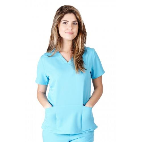 A photo of water blue ultra soft fashion scrub top (front)