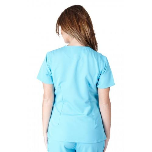 A photo of water blue ultra soft fashion scrub top (back)