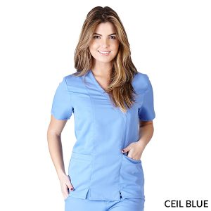 A photo of ceil blue ultra soft elastic scrub top