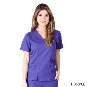 A photo of purple ultra soft elastic scrub top