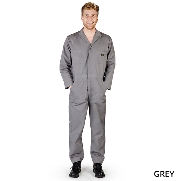 A photo of grey men's long sleeve coveralls