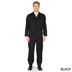 A photo of black men's long sleeve coveralls