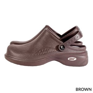 A photo of brown women's ultralite with strap clogs