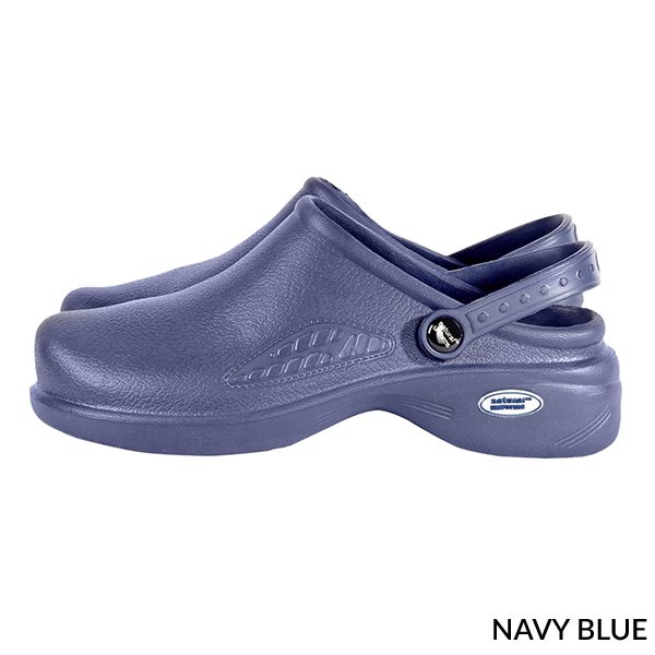 A photo of royal navy blue women's ultralite with strap clogs