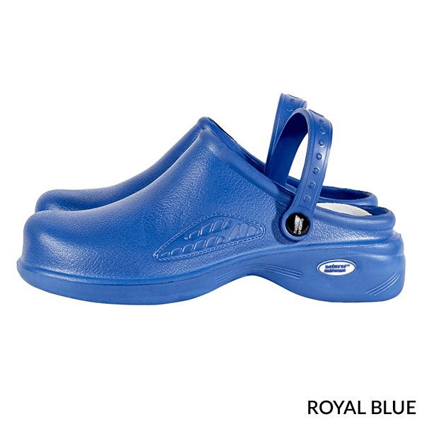 A photo of royal blue women's ultralite with strap clogs
