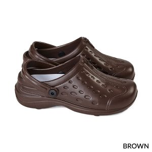 A photo of brown unisex ultralite clogs