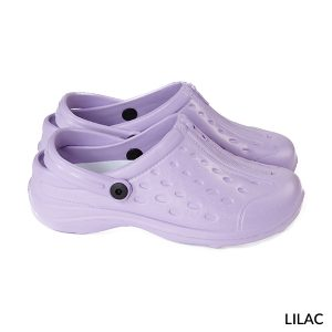 A photo of lilac unisex ultralite clogs