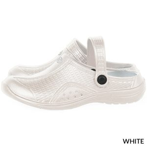 A photo of white women's ultralite with strap runner clogs