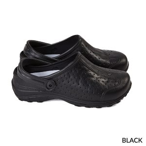 A photo of black women's ultralite with strap sports clogs
