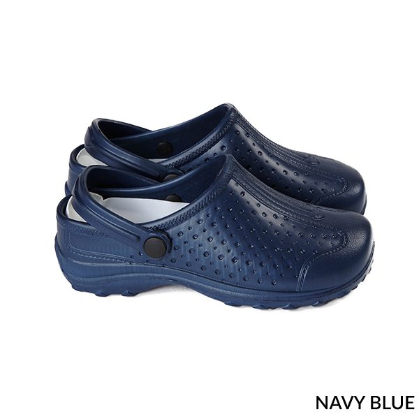 A photo of navy blue women's ultralite with strap sports clogs