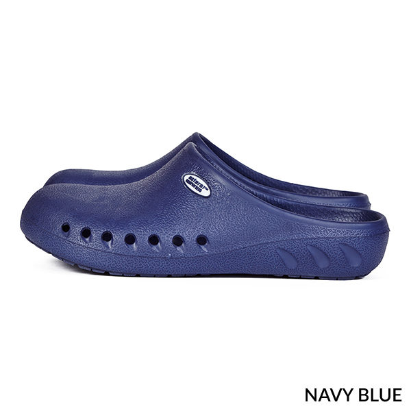 A photo of navy blue men's ultralite strapless clogs