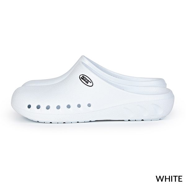 A photo of white women's ultralite strapless clogs