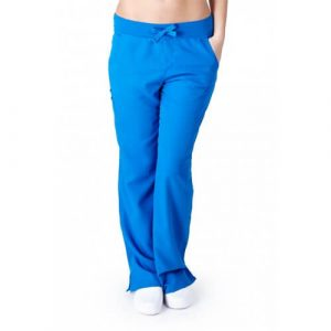 A photo of true royal blue ultra soft yoga flare scrub pants