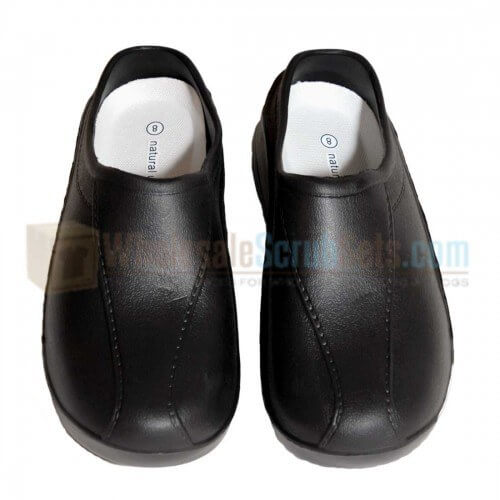 A photo of black strapless ultralight clogs