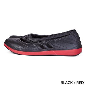 A photo of black/red contrast fashion clogs