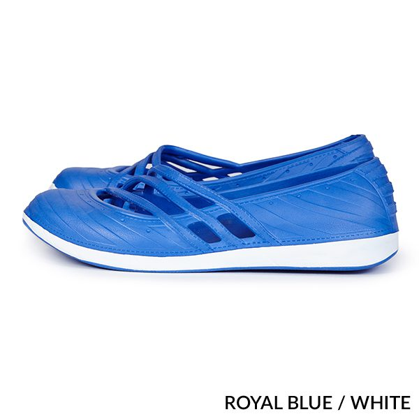 A photo of royal blue/white contrast fashion clogs