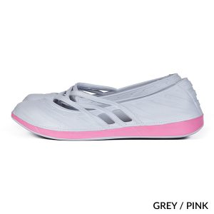 A photo of grey/pink contrast fashion clogs