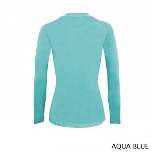 A photo of aqua blue women's stretchy fit shaped long sleeve t-shirt (back)