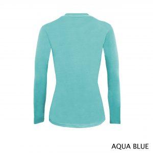 A photo of aqua blue women's stretchy fit shaped long sleeve t-shirt (back)