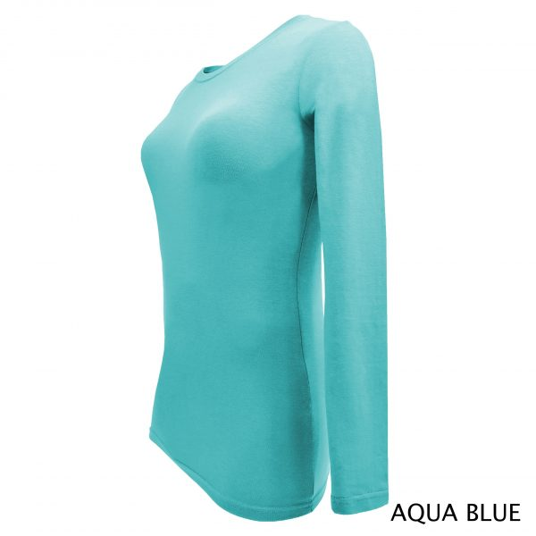 A photo of aqua blue women's stretchy fit shaped long sleeve t-shirt (side)