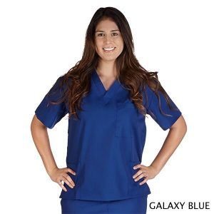 A photo of galaxy blue petite unisex solid v-neck scrub top