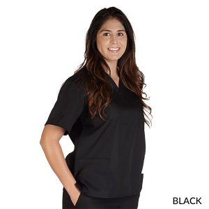 A photo of black petite unisex solid v-neck scrub top