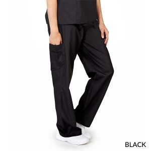 A photo of black petite unisex solid cargo pocket pants