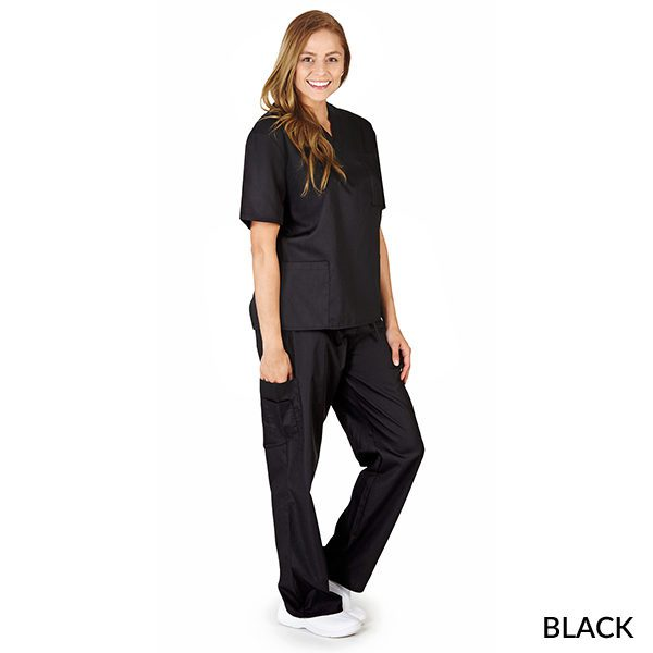 A photo of black unisex cargo solid v-neck scrub sets