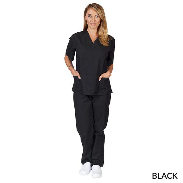 A photo of black unisex 2 pockets scrub sets