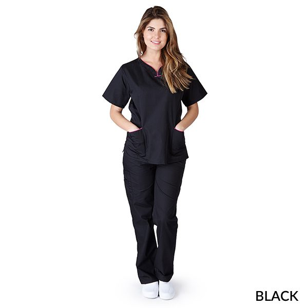 A photo of black/hot pink contrast scallop scrub sets