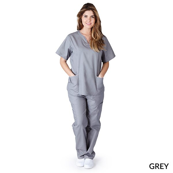 A photo of grey?white contrast scallop scrub sets