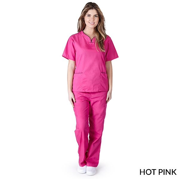 A photo of hot pink / black contrast scallop scrub sets