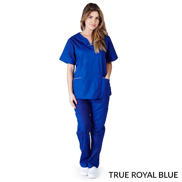 A photo of true royal blue/white contrast scallop scrub sets