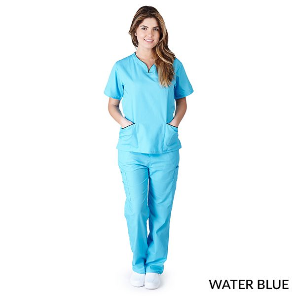 A photo of water blue / dark navy blue contrast scallop scrub sets