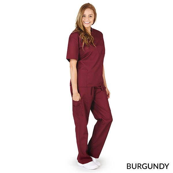 A photo of burgundy unisex cargo solid v-neck scrub sets