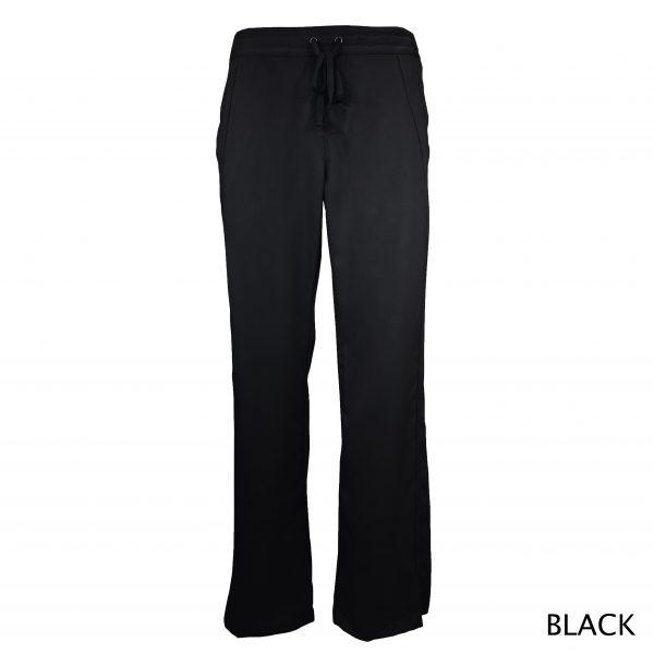 A photo of black women drawstring scrub pants (front)