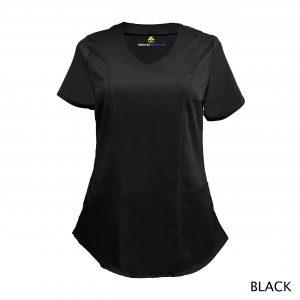 A photo of black wrap stretch scrub top