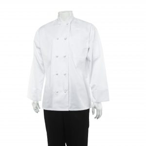 A photo of white unisex chef long sleeves coats