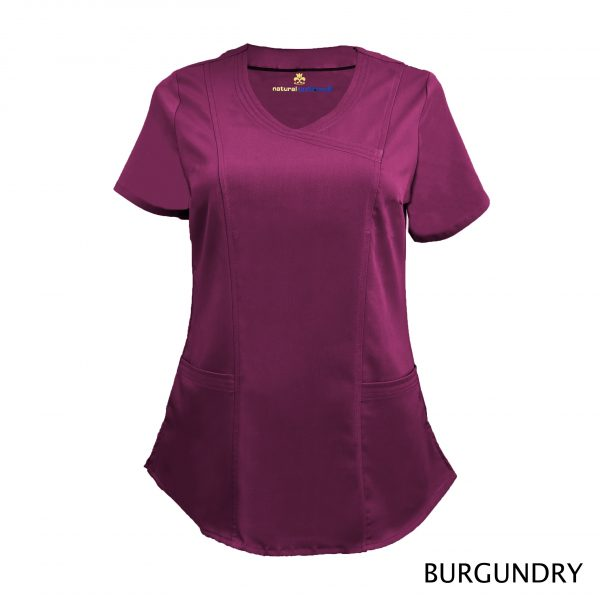 A photo of burgundy wrap stretch scrub top