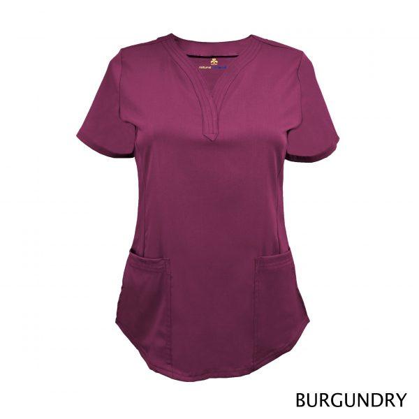 A photo of burgundy v-neck stretch scrub top