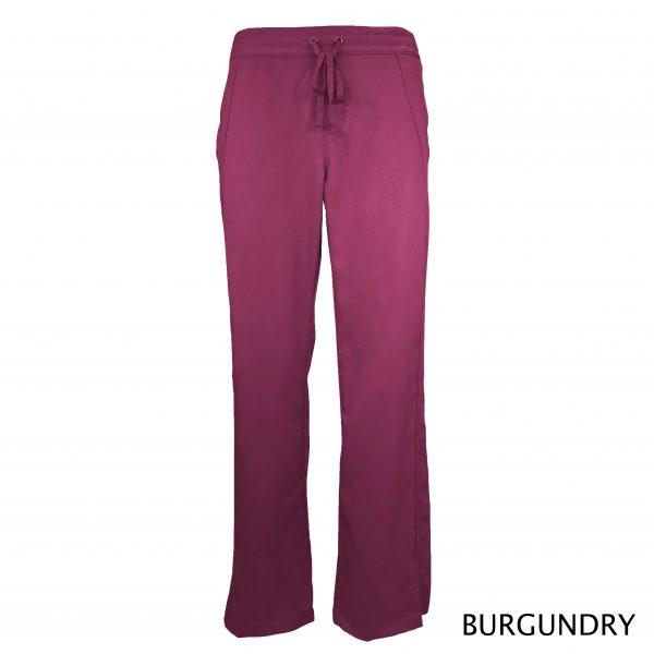 A photo of burgundy women drawstring scrub pants (front)