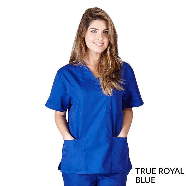 A photo of true royal blue unisex 3 pocket tops