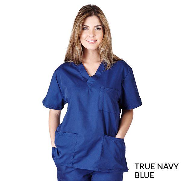 A photo of true navy blue petite unisex solid cargo pocket pants