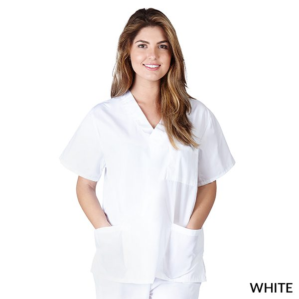 A photo of white unisex 3 pocket tops