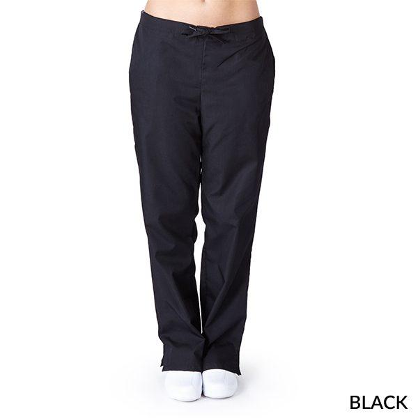 A photo of black drawstring boot cut pants