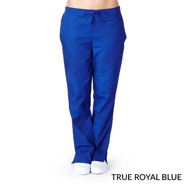 A photo of true royal blue drawstring boot cut pants
