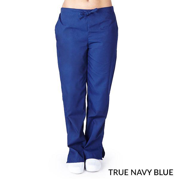 A photo of true navy blue drawstring boot cut pants
